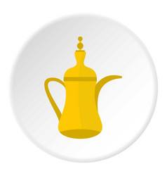Oriental teapot icon circle vector