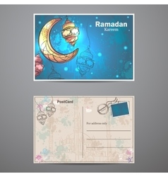 Ramadan kareem lamps and crescent moon postcard vector