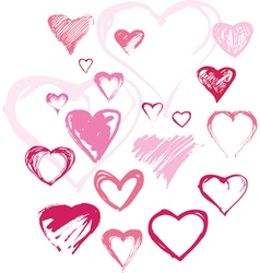 Set of different handdrawn hearts vector