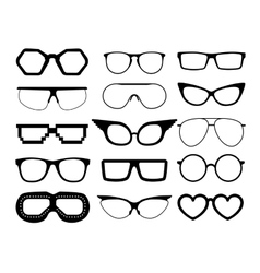 Set of glasses on white background vector image vector image