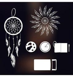 Set of icons on a theme of lucid dream and deep vector