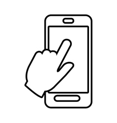 Smartphone hand touch payment digital line vector