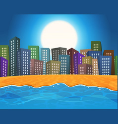 summer beach by the city vector image vector image