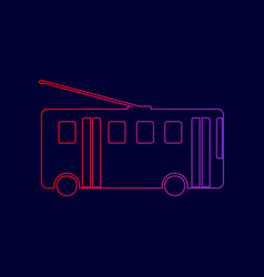 Trolleybus sign line icon with gradient vector