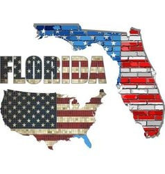 USA state of Florida on a brick wall vector image vector image