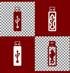 Usb flash drive sign bordo and vector
