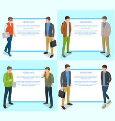 young men collection of on light blue vector image