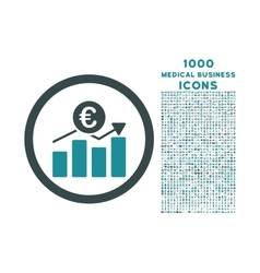 Euro business chart rounded icon with 1000 bonus vector
