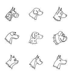 Faithful friend dog icons set outline style vector