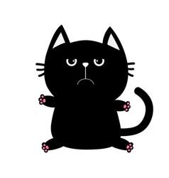 Black cat icon cute funny cartoon grumpy vector