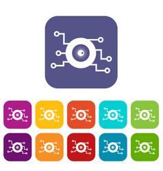 Cyber eye symbol icons set vector