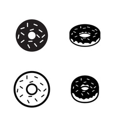 Donut icons in silhouette style vector