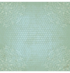 Blue lace grunge polka dot pattern old background vector
