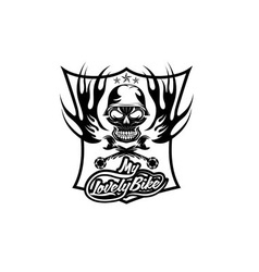 My lovely bike auto crest with skull in helmet vector