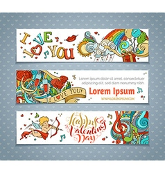 Set of horizontal valentines banners vector