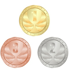 Gold silver bronze medal with 1 2 and 3 place vector