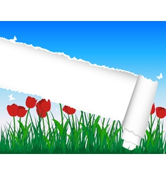 Ripped tulip meadow background vector