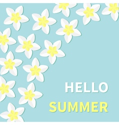 Hello summer greeting card plumeria tropical vector