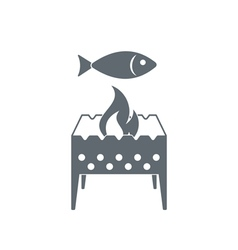 Brazier with fish icon vector