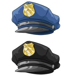 Cartoon police hat with golden badge set vector