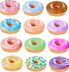 Set of colored donuts with icing vector