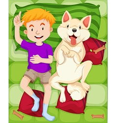 Dog and boy sleeping on the bed vector