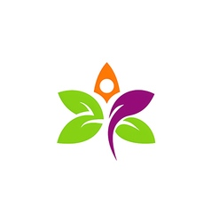 abstract flower vegetarian leaf logo vector image vector image