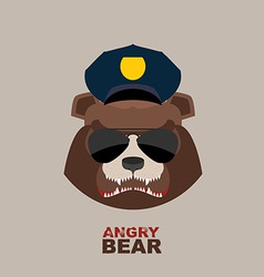 Angry bear Bear police officer Police Cap vector image vector image