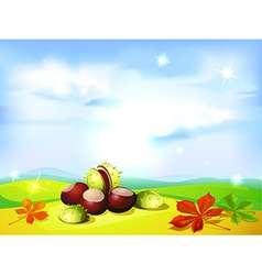 Autumn landscape background with chestnuts- vector