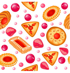 Background seamless with fruit biscuits with vector