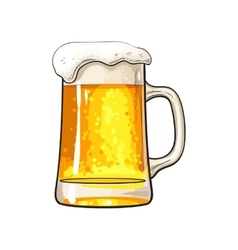 Big mug of cold beer with foam and bubbles vector