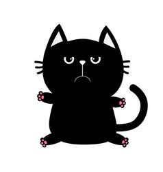 Black cat icon cute funny cartoon grumpy vector