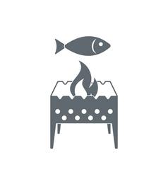 Brazier with fish icon vector