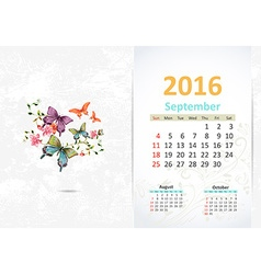 Calendar for 2016 September vector image vector image