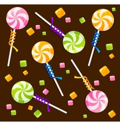 Candy lollipops background pattern vector image