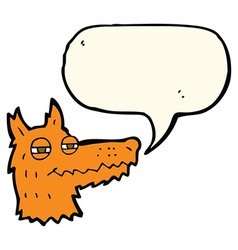 Cartoon smug fox face with speech bubble vector