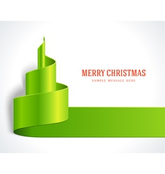 Christmas tree green from ribbon background vector