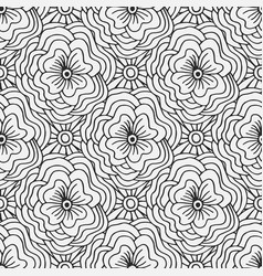 Doodle seamless pattern with flowers creative vector