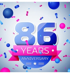 Eighty six years anniversary celebration on grey vector