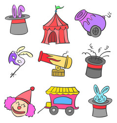 Element circus carnival of doodle vector