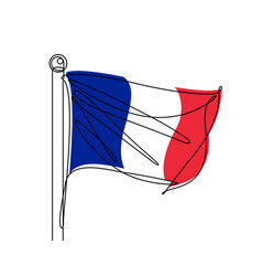 french flag continuous line vector image vector image
