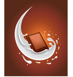 fresh milk splash with piece of chocolate vector image vector image