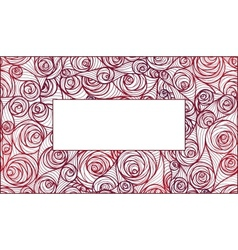 Fresh pink roses frame border isolated on white vector image