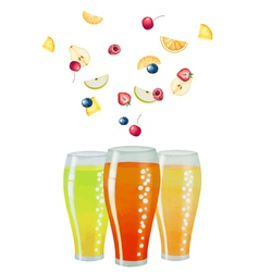 Fruit drink in glasses vector