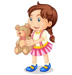 Girl holding brown teddy bear vector image vector image