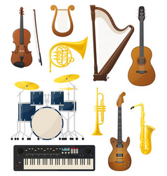 Guitar and drums violin lyre music instruments vector