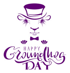 Happy groundhog day marmot silhouette lettering vector
