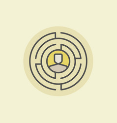 Labyrinth with man icon vector