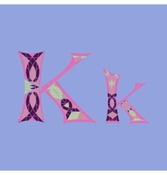 Low poly letter k in colored mosaic polygon vector