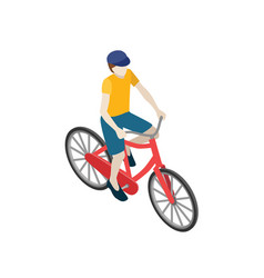 male cyclist riding on a bicycle flat 3d vector image